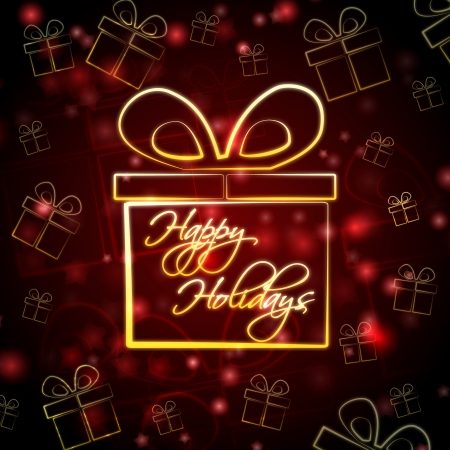 happy feast: abstract red background card with golden presents boxes and text happy holidays