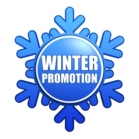 text winter promotion - advertising label with snowflake like badge, business sale concept Stock Photo - 16428599