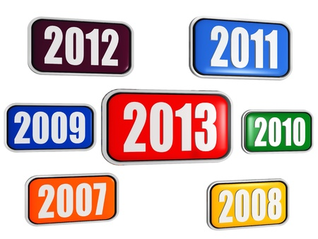 precedent: 3d colored banners with figures - new year 2013 and previous years, business concept