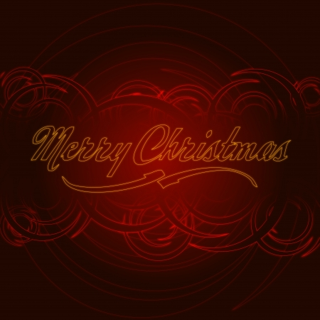 christmas motif: abstract red card with illustrated circles and text Merry Christmas Stock Photo