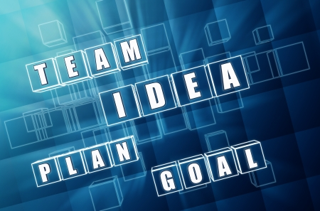 develop: idea, team, plan, goal - words in 3d blue glass blocks with text, business concept