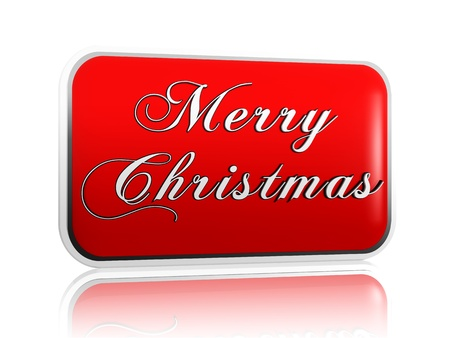 3d red banner with white letters makes text Merry Christmas photo