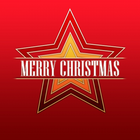 twelfth night: white text Merry Christmas in gradient colored stars over red background