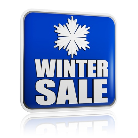 winter sale 3d blue banner with white text and snowflake symbol, business concept Stock Photo - 16463381