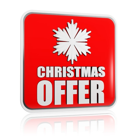 selling off: christmas offer 3d red banner with white text and snowflake symbol, business concept