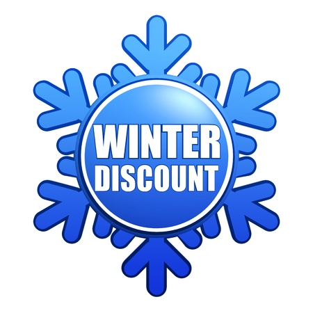 text winter discount - advertising label with snowflake like badge, business sale concept Stock Photo - 16519379