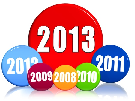former years: 3d colored circles with figures - new year 2013 and previous years, business concept