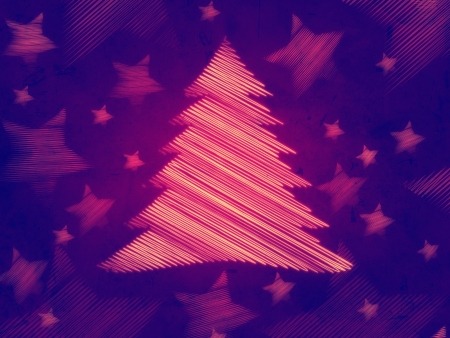 violet background with illustrated striped christmas tree and stars, abstract retro card photo