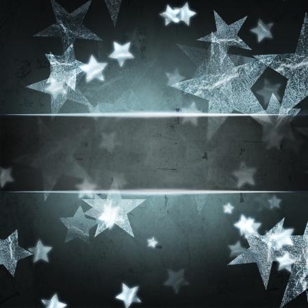 étoiles argentées abstraites sur gris foncé fond de Noël avec l'espace des textes