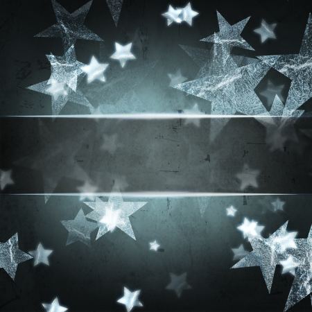 abstract silver stars over dark grey christmas background with text space