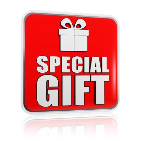 흰색 텍스트 특별한 선물과 선물 상자 기호 3d 빨간색 배너 스톡 콘텐츠