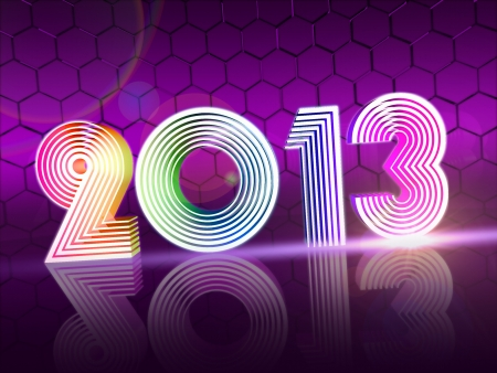 year 2013 in 3d rainbow colored shining figures, disco number Stock Photo - 16519388