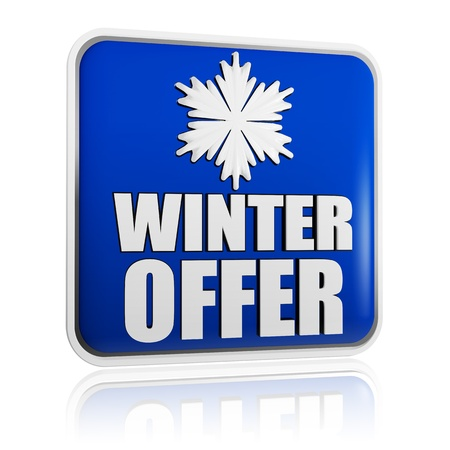 winter offer 3d blue banner with white text and snowflake symbol, business concept Stock Photo - 16519377