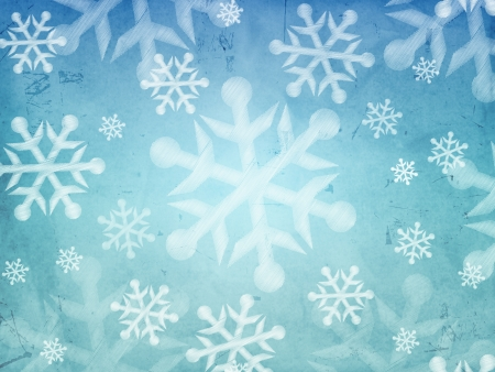 abstract blue background with illustrated striped snowflakes, retro christmas card photo