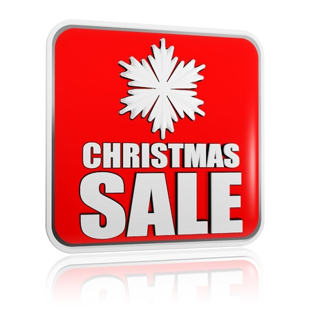 christmas sale 3d red banner with white text and snowflake symbol, business concept Stock Photo - 16519380