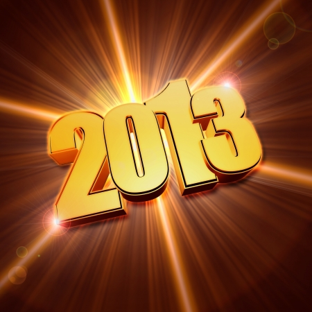 golden year 2013 with light rays over shining background with lens flare photo