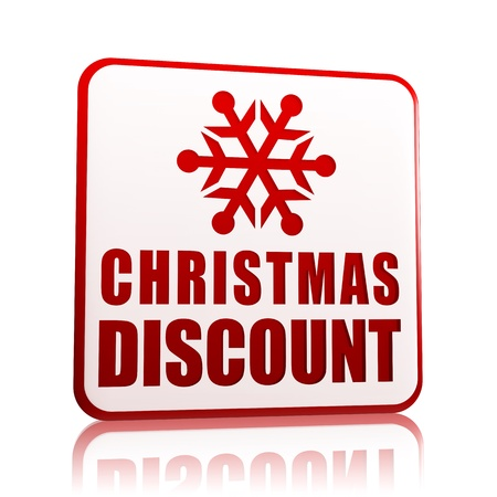 christmas discount 3d white banner with red text and snowflake symbol, business concept Stock Photo - 16519390