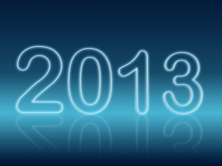 year 2013 in 3d shining figures with reflection over blue background photo