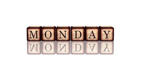 white banner 3d wooden cubes with reflection with letters makes monday photo