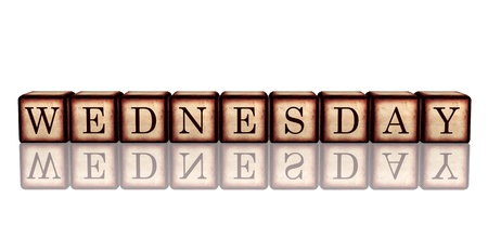 white banner 3d wooden cubes with reflection with letters makes wednesday Stock Photo - 16650020