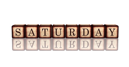 block note: white banner 3d wooden cubes with reflection with letters makes saturday Stock Photo
