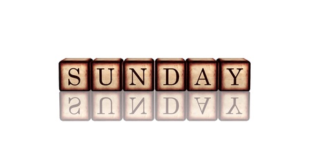 white banner 3d wooden cubes with reflection with letters makes sunday Stock Photo - 16649984