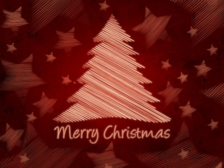 red background with text Merry Christmas, striped christmas tree and stars, abstract retro card photo