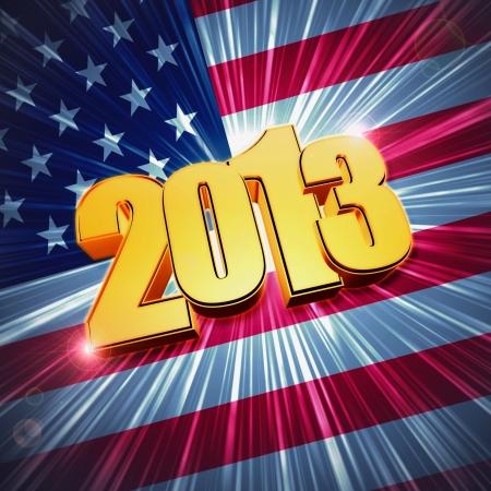 turns of the year: 3d figuras doradas a�o 2013, con rayos y brillante bandera americana
