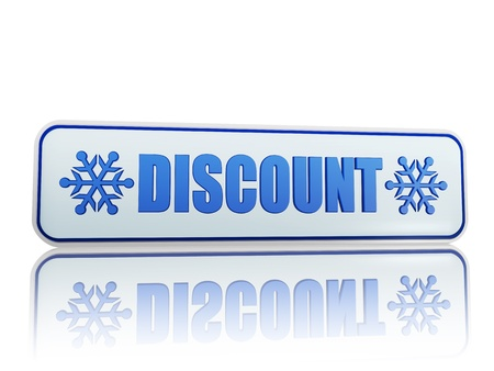 winter discount 3d white banner with blue text and snowflakes symbols, business concept photo