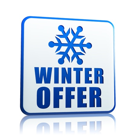 winter offer 3d white banner with blue text and snowflake symbol, business concept Stock Photo - 16650032