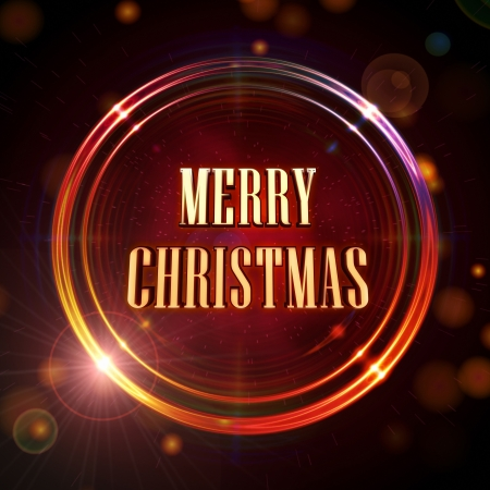Merry Christmas in abstract golden rings shining over red background with stars and lights photo