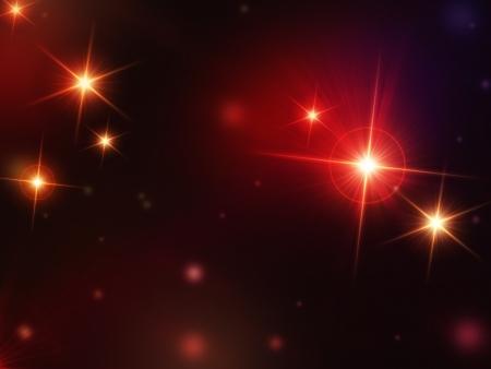 christmas background, abstract étoiles qui brillent avec des lumières rayons rouges, lens flare