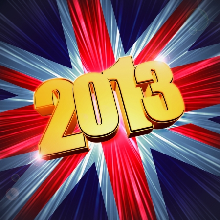3d golden figures year 2013 with rays and shining United Kingdom flag, Union Jack Stock Photo - 16711538