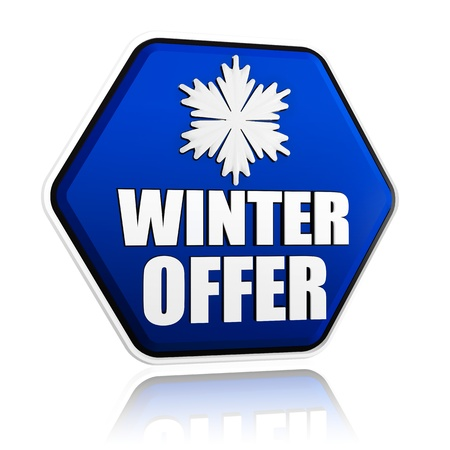 winter offer 3d blue hexagon banner with white text and snowflake symbol, business concept photo