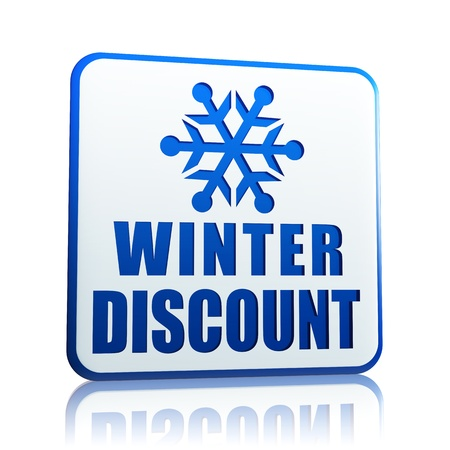 winter discount 3d white banner with blue text and snowflake symbol, business concept Stock Photo - 16711535