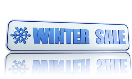 winter sale 3d white banner with blue text and snowflake symbol, business concept Stock Photo - 16711522