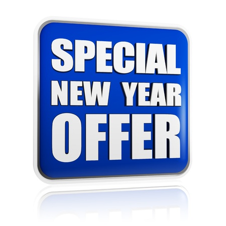 special New Year offer 3d blue banner with white text, business concept Stock Photo - 16711529