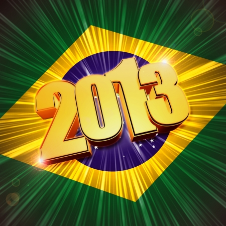 twelfth night: 3d golden figures year 2013 with rays and shining Brazilian flag