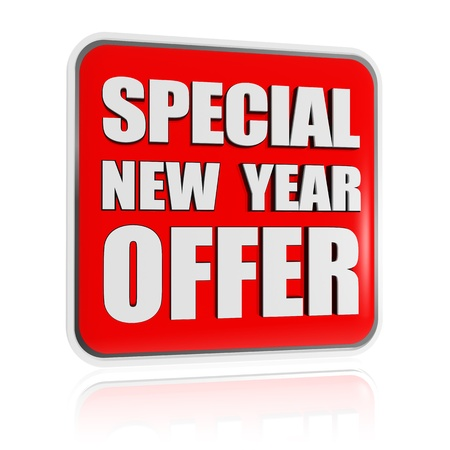special New Year offer 3d red banner with white text, business concept Stock Photo - 16844842