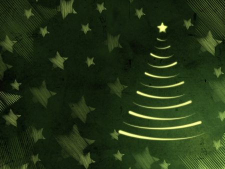 christmas motif: abstract green background with illustrated christmas tree and stars, retro card