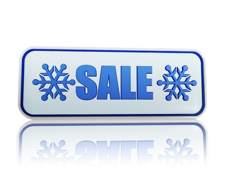 winter sale 3d white banner with blue text and snowflakes symbol, business concept Stock Photo - 16844835