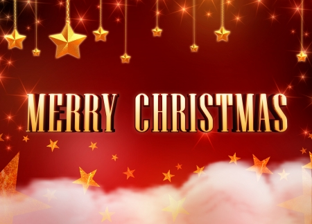 3d text Merry Christmas and golden stars, chains and lights over red background with clouds photo