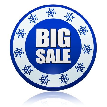 winter big sale 3d blue circle banner with white text and snowflakes symbol, business concept Stock Photo - 16844850