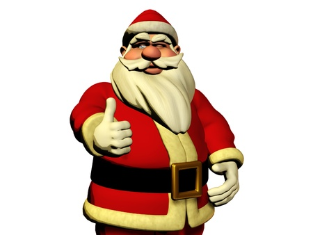 pere noel: 3d Santa Claus is wishing Good luck with thumb Stock Photo