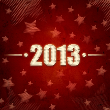 abstract red background with figures year 2013 and illustrated striped stars, retro style card photo