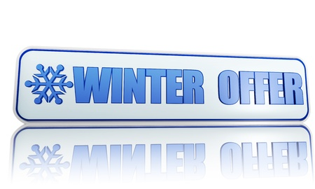 winter offer 3d white banner with blue text and snowflake symbol, business concept Stock Photo - 16980250