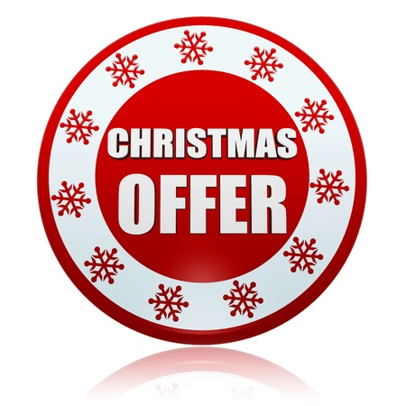 christmas offer 3d red circle banner with white text and snowflakes symbol, business concept Stock Photo - 16980252