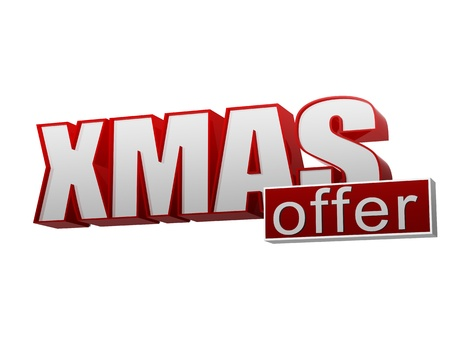 text xmas offer 3d red white banner with letters and block, business concept Stock Photo - 16980243