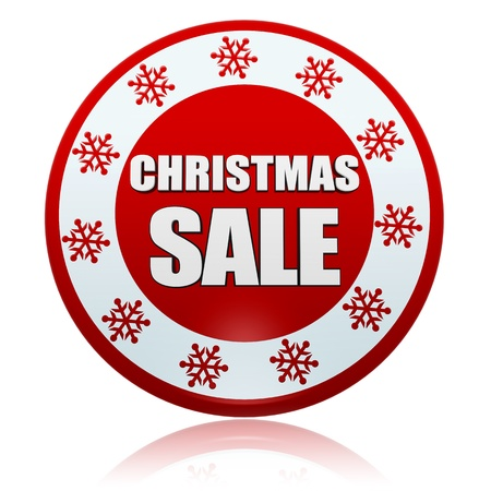 christmas sale 3d red circle banner with white text and snowflakes symbol, business concept Stock Photo - 16980255