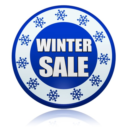 winter sale 3d blue circle banner with white text and snowflakes symbol, business concept Stock Photo - 16980256